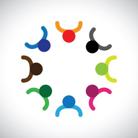 Concept can be kids playing or teamwork or diversity. The graphic can represent children forming a circle, concept of corporate team and teamwork, as well as the concept of people diversity Stock Vector - 17040869