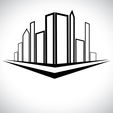 Outline sketch of cityscape urban setting with tall skyscrapers, towers and street Vector
