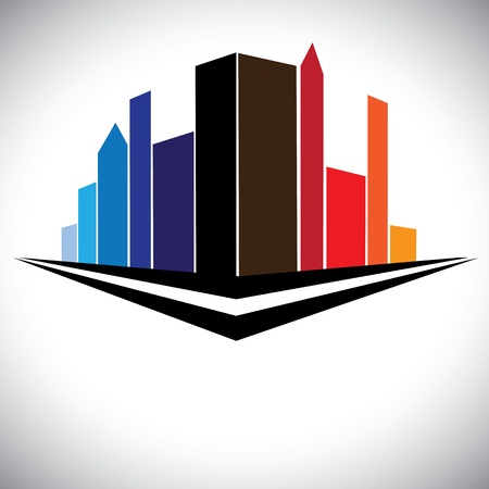commercial construction: colorful buildings of cityscape urban setting with tall skyscrapers, towers and street in red, orange, brown, blue and purple colors