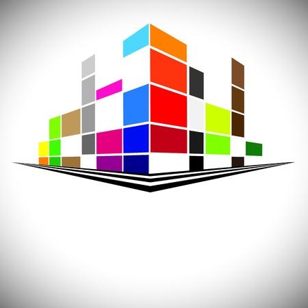 Coloridos edificios del horizonte urbano con rascacielos, torres altas y calles en colores como el rojo, naranja, marrón, azul y morado