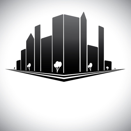 commercial construction: Downtown buildings in b &amp, w of modern city skyline with skyscrapers, trees,  tall towers and streets in shades of black, white and grey