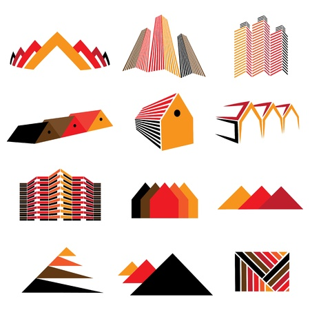 Icons of office buildings, residential houses & homes. Also symbols and signs of real estate, commercial shops, apartments, factories and other establishments. Stock Vector - 17071539