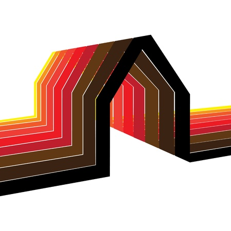 Colorful house/home symbol illustration in shades of red, orange, yellow, black and brown Stock Vector - 17360432
