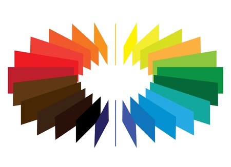 Blocks forming a color(colour) wheel/fan with brilliant, bright and vivid colors like red, orange, blue, green, etc. Stock Vector - 17360391
