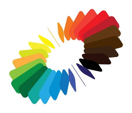Blocks forming a color(colour) wheelfan with smooth rounded blades and brilliant, bright and vivid colors like red, orange, blue, green, etc. Vector