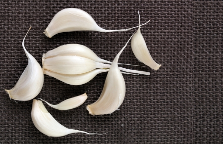 scientifically: Fresh organic garlic cloves on jute cloth background. Scientifically known as allium sativum. Stock Photo