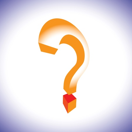 questioning: Orange question mark symbol in 3d representing concept of questioning, doubt, search, unknown, etc.