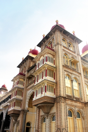 Part of mysore palace building with windows   doors in indo-saracenic style  The palace is a historic monument located in mysore in south karnataka, India and is a huge tourist attraction  Stock Photo - 17465432