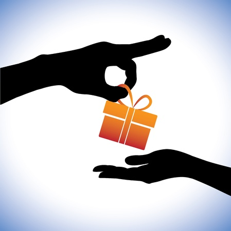 lend a hand: Concept illustration of person giving gift package to the receiver. This graphic represents gifting times like christmas(xmas), birthday, anniversaries and other such occasions Illustration