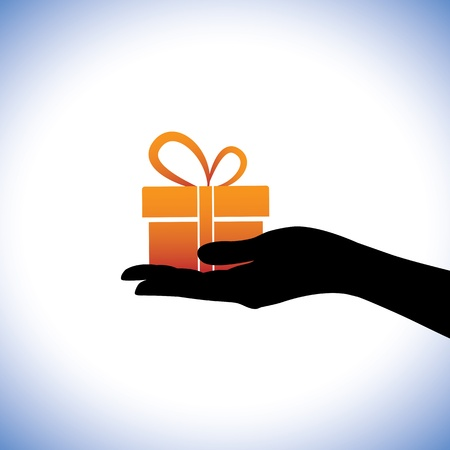 gifting: Illustration of person givingreceiving gift package. This conceptual graphic represents gifting times like christmas(xmas), birthday, anniversaries and other such occasions