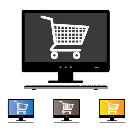 Illustration of online shopping using DesktopPCComputer with the concept graphic showing computer screen with cart icon in black and white. Also included are 3 colorful versions of the graphic Vector