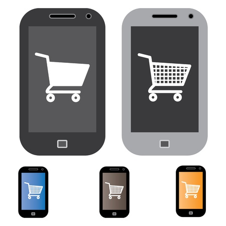 Illustration of online shopping using mobile/cell phone with the concept graphic showing mobile screen with cart icon in black and white. Also included are 3 colorful versions of the graphic Stock Vector - 17564958