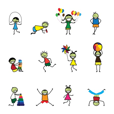 Illustration of kids(children) playing and having fun at school. The girls and boys are skipping, playing ball and balloons, running, jumping, alphabet blocks, and other fun activities Vector