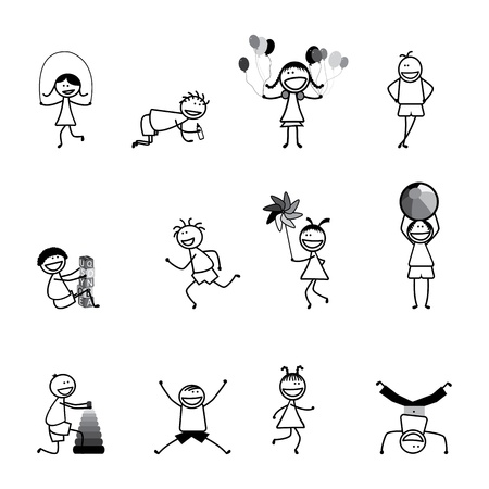 skipping: Kids(children) playing & having fun at school in black and white. The girls and boys are skipping, playing ball and balloons, running, jumping, alphabet blocks, and other fun activities