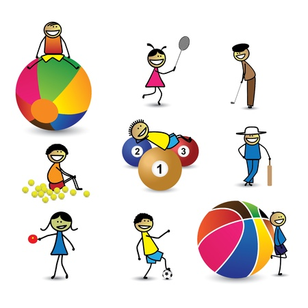 playschool: Kids(children) or people playing different sports & games. The girls and boys are playing cricket, basketball, tennis, table tennis, golf, shuttle badminton, football(soccer) and snooker(billiards) Illustration