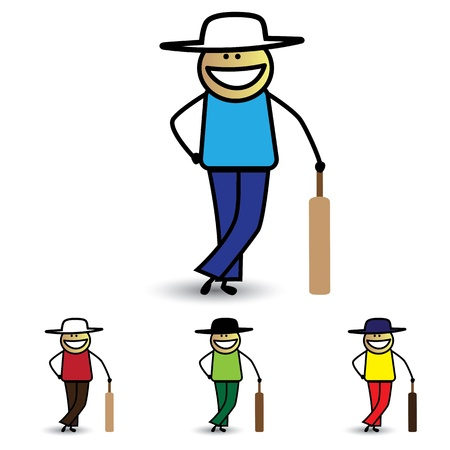 Illustration of young boy holding bat playing cricket game. The graphic shows children with bat enjoying their time and exercising for health at the same time Vector