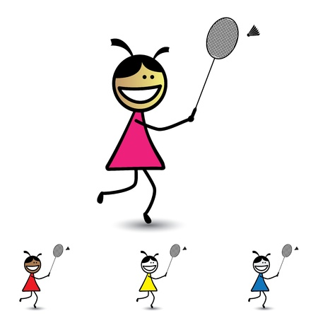 Illustration of young girls playing shuttle badminton game  having fun. The graphic shows children with racket and cock enjoying their time and exercising for health at the same time Stock Vector - 18144130