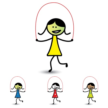 girls having fun: Illustration of young girls playing skipping game having fun. The graphic shows children enjoying their time and exercising for health at the same time
