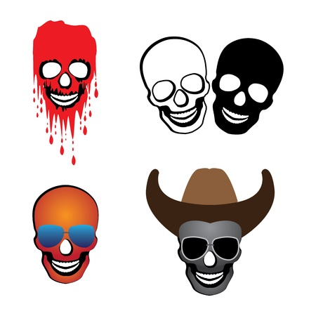 Illustration of skulls with hat, glasses and blood spilling.   Vector
