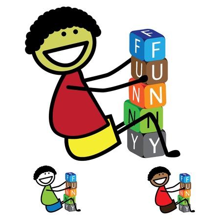 Illustration - cute boy(kid) building words using colorful blocks Stock Vector - 18315297