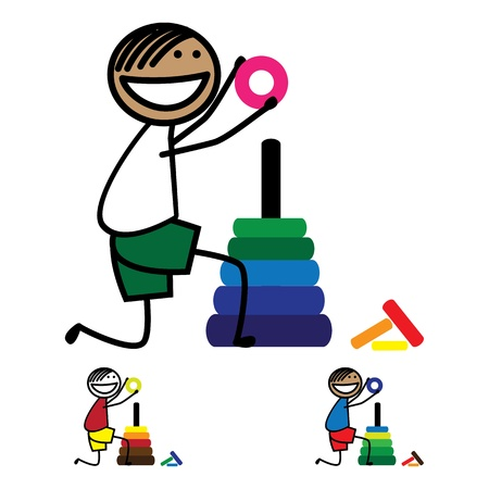 kneeling: Illustration of cute boy(kid) holding a ring of round color tower Illustration
