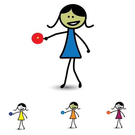 Illustration of cute girl(kid) playing table tennis game Vector