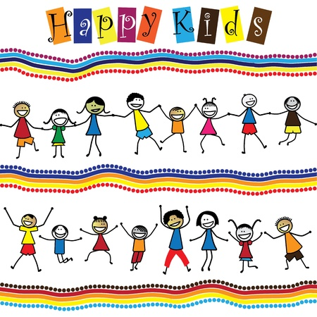 ni�os dibujando: Ilustraci�n - ni�os lindos (los ni�os) y saltando, bailando juntos