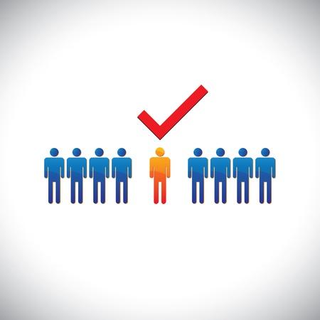Illustratie-selectie (verhuren) juiste medewerker, arbeider, kandidaat. De grafische afbeelding toont de inzetbaar en geschikt voor het scheppen van iemand met een cheque (vinkje) merk Vector Illustratie