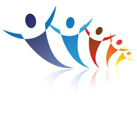 simbolo de la paz: Ilustración colorida de la gente es positiva y feliz, El gráfico representa los símbolos  iconos de la gente como una comunidad o red social o amigos