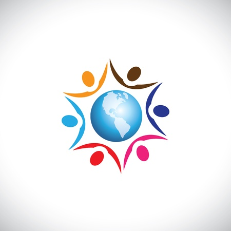 racial: Illustration of people joining together with a center world icon. The graphic represents multi racial, global community of humans living in harmony and peace