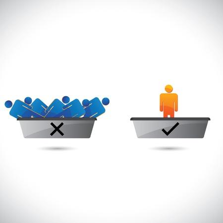 Selección (contratación) y el rechazo de los empleados, trabajadores o empleados. . La ilustración gráfica muestra a los candidatos contratados en una bandeja y los rechazó en otra bandeja