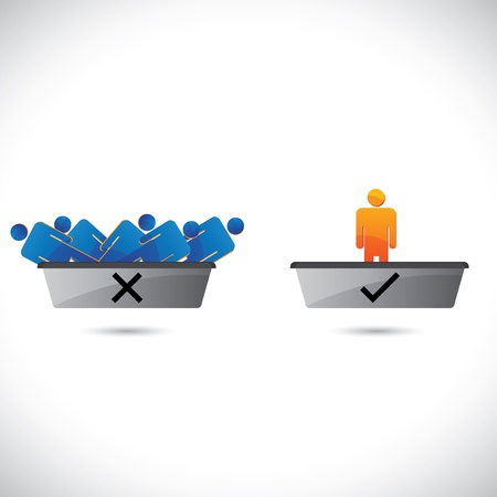 rejection: Selection(hiring) and rejection of employees, workers or staff. . The graphical illustration shows hired candidates in one tray and rejected ones in another tray Illustration