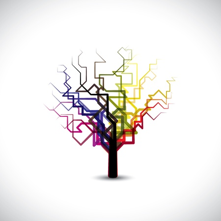 digital paint: Abstract,colorful graphic tree symbol in digital or binary style.   Illustration
