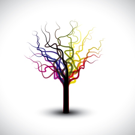 withered: Beautiful abstract, colorful graphic tree symbol with copy space. This illustration can be used for prints of book cover, greeting cards, etc Illustration