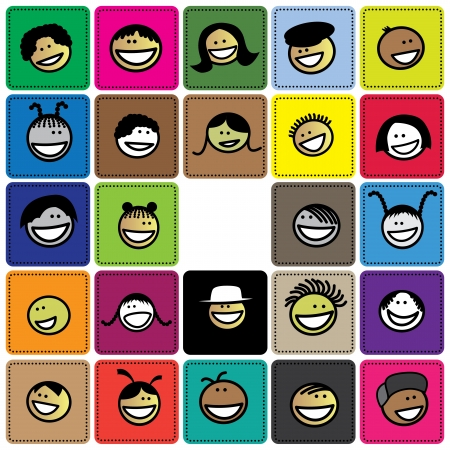 Colorful graphic of cute and happy faces of children(kids). The illustration shows faces of young girls and boys on colored background blocks expressing positive emotions like smiling or laughing Stock Vector - 18458528