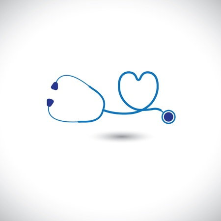 stethoscope heart: Graphic of medical diagnostic tool - stethoscope and heart symbol. The illustration represents conceptually the doctors care for health of heart with the equipment Illustration