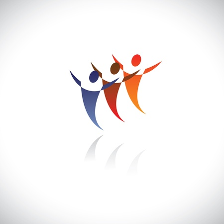 Colorful illustration of icons of people together being free. The graphic represents symbols/signs of people at office, or friends together, or children playing, dancers dancing, sports people, etc Stock Vector - 18518714