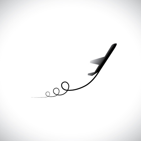 off path: Graphic of airplane icon take off showing its path, in high speed. This illustration can also represent silhouette symbol of a military jet speeding up in the sky