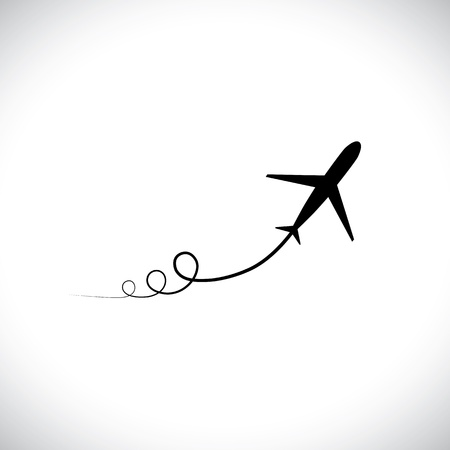 off path: Graphic of airplane icon take off showing its path, speeding up. This illustration can also represent silhouette symbol of a military jet zoom in the sky with high speed