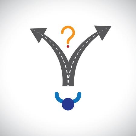 Carrera Confused persona toma la decisión elección dificultad gráfico. La ilustración representa también la toma de decisiones cuando los problemas de muchas opciones están presentes en las personas de carrera, la vida, etc Ilustración de vector