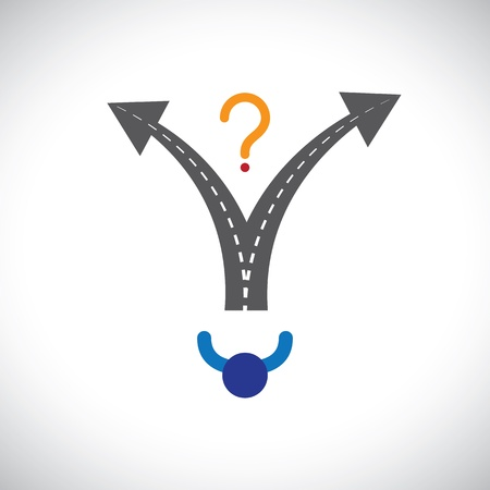 crossroads: Confused person career choice decision making difficulty graphic. The illustration also represents decision making problems when many options are present in peoples career, life, etc