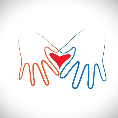 Concepto de pareja hombre mujer las manos juntas formando Amor Regístrate El gráfico representa el romance entre una pareja de amantes o esposos muestra las manos de una chica joven con símbolo del corazón