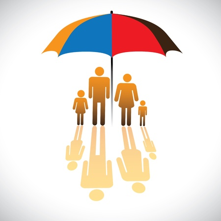 homely: Graphic of Secure family people icons  umbrella safeguard. The concept illustration contains symbols of parents, children  umbrella guarding family. Represents concepts like insurance, home security Illustration
