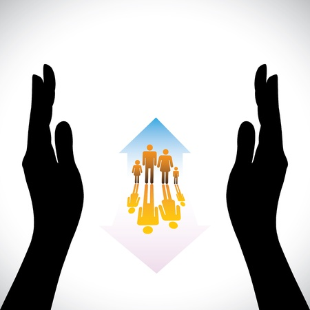 realestate: Secure family people icons & hand silhouette protection. The concept illustration contains symbols of home(residence), parents, children & hand. Represents concepts like insurance, home security