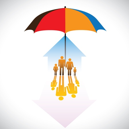 Graphic of Secure family people icons umbrella safeguard. The concept illustration contains symbols of home(residence), parents, children &amp, umbrella. Represents concepts like insurance, home security Vector