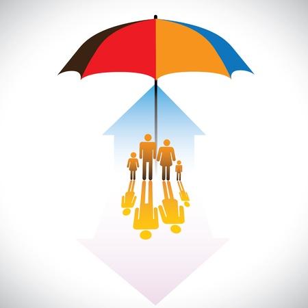 sauvegarde: Graphique de la famille des personnes parapluie de sauvegarde s�curis� ic�nes. Le concept illustration contient des symboles de la maison (r�sidence), les parents, les enfants et, parapluie. Repr�sente des concepts tels que l'assurance, la s�curit� � domicile