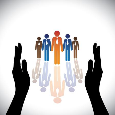 seguridad laboral: Concept-seguros (Proteger) compa��a corporativo empleados o ejecutivos con silueta de la mano Vectores