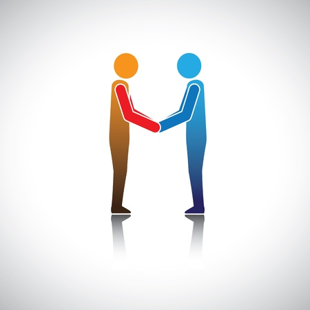 Corporate executives, businessmen or friends greeting hand shake Stock Vector - 18627644
