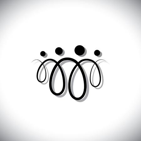 bucle: Familia de cuatro s�mbolos abstractos personas (iconos) mediante bucles de l�nea. Los iconos son de padre, madre, hijo e hija en l�neas de color negro con la sombra
