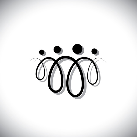 Familie von vier Personen abstrakte Symbole (Icons) mit Leitungsschleifen. Die Symbole sind von Vater, Mutter, Sohn und Tochter in schwarz farbige Linien mit Schatten